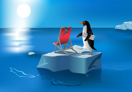 humorous illustration of penguin on melted iceberg, , gradient mesh and transparency used Vector