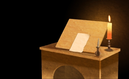 pen and paper: medieval notary desk,  file, gradient mesh and transparency used