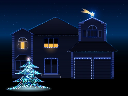 vector illustration of decorated house with lights, christmas tree and david star, eps 10 file, gradient mesh and transparency used