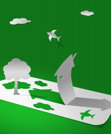 vector world aus Papier Konzept Illustration, eps10 Datei, Verlaufsgitter und Transparenz verwendet