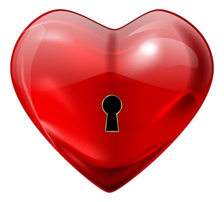 secret love: coraz�n rojo brillante con orificio de bloqueo