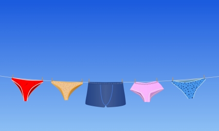 panties:  conceptual illustration panties on the rope and blue sky behind