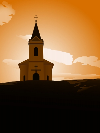 religious building: vector illustration of chapel on the hill in the sunset Illustration