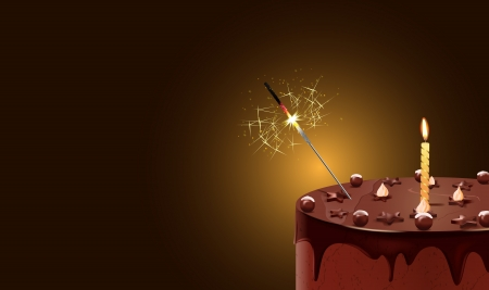 sparkler: vector illustration of chocolate cake with candle and sparkler,gradient mesh and transparency used