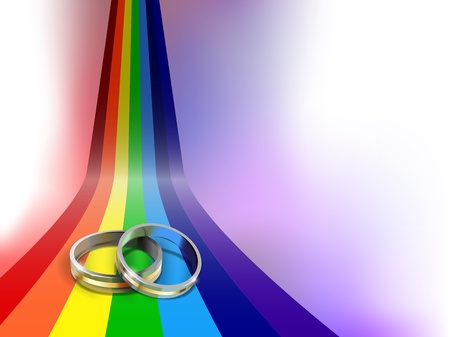 matrimony: vector wedding rings on rainbow path, eps10 file, gradient mesh and transparency used,