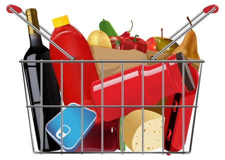 shopping full grocery basket Vector