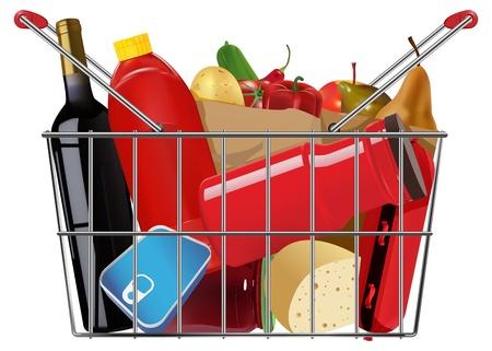 shopping full grocery basket Stock Vector - 17194350