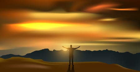 vector man silhouette on the mountain in the dusk, eps10 file, gradient mesh and transparency used Stock Vector - 17194351