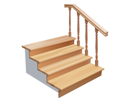 railing: escaliers en bois traverse la section sur fond blanc Illustration