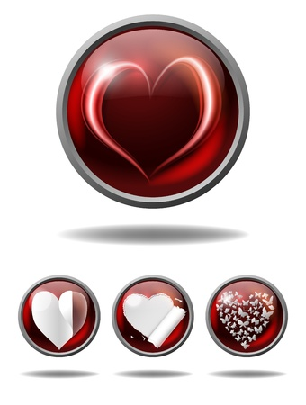 valentine buttons with various hearts, gradient mesh and transparency used Stock Vector - 17306012