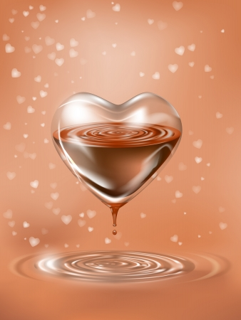 concept illustration with heart of glass and melted chocolate,file, gradient mesh and transparency used Vector