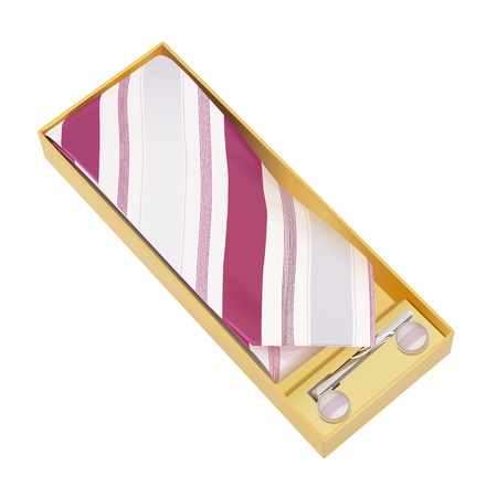 elegant tie with tie pin and cufflinks in the box, gradient mesh and transparency used Vector