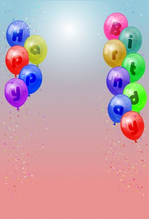vector various colors birthday balloons, eps10 vector, transparency used Stock Vector - 17667454