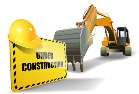 hard worker: under construction sign with helmet and heavy machine