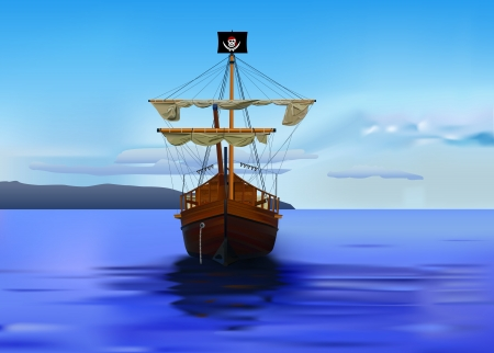 detailed pirates ship Vector