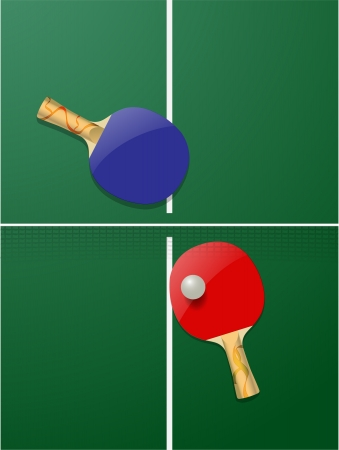 raquet: vector realistic table tennis concept, eps10 file, gradient mesh and transparency used