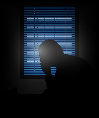 hombre solitario: vector silueta de hombre solitario frente a la ventana