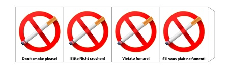 vector template, four sided no smoking sign on four languages , gradient mesh used Vector
