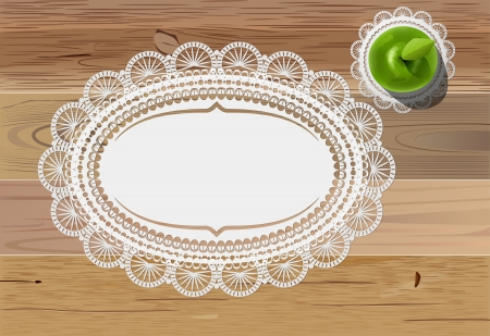 wooden vector mesh: vector green apple and vintage doily mats on wooden table, eps10 file, gradient mesh and transparency used Illustration