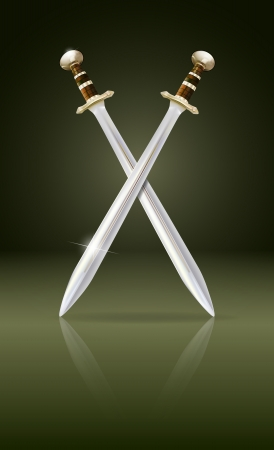 crossed swords: crossed swords with reflection,  gradient mesh and transparency used Illustration