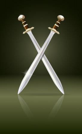 crossed swords: espadas cruzadas con malla de degradado reflexi�n y transparencia utilizada