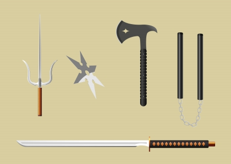 nunchaks:  ninja weapons, gradient mesh used