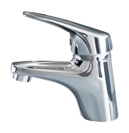 realistisch Bad Wasserhahn auf weißem Hintergrund Vektorgrafik