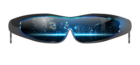 sunglasses reflection: illustration of sunglasses with cityscape reflection, file, gradient mesh and transparency used