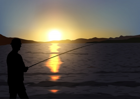 tranquille scene with sunset and fisherman silhouette,  file, gradient mesh and transparency used