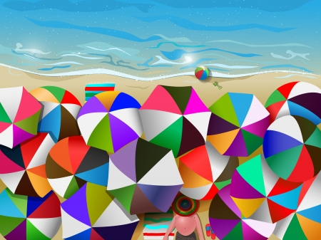 illustration of crowded beach full of umbrellas, gradient mesh and transparency used  イラスト・ベクター素材