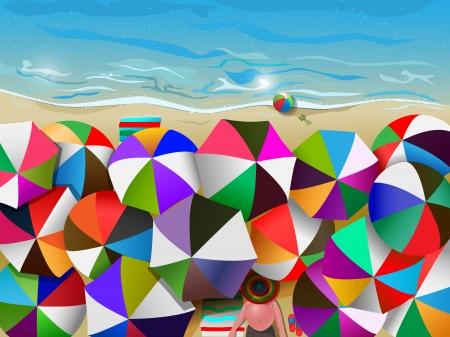 Illustration de la plage bondée de parapluies, filet de dégradé et transparence utilisée