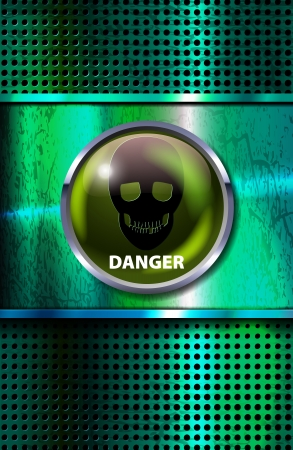 deadly danger sign: vector grunge metal background with danger sign and skull,  eps10 file, transparency and blend modes used