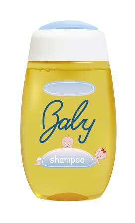shampoo: vector realistic baby shampoo container, letters and babyies are my own design Illustration