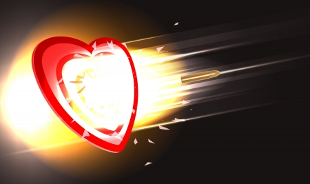 penetrate: concept illustration of golden bullet breaking through heart target, gradient mesh and transparency used Illustration