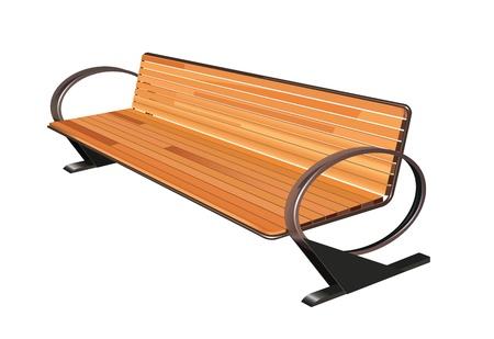 metal legs: wooden bench on white background Illustration