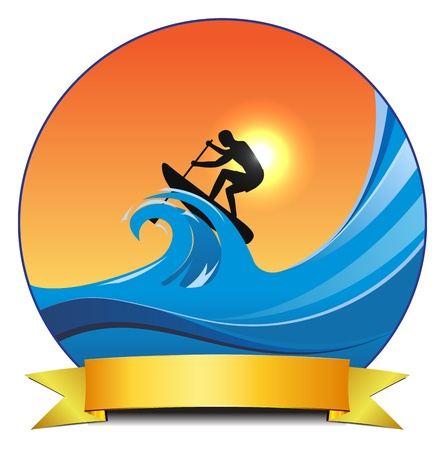 concept surf paddle illustration,  transparency used Vector