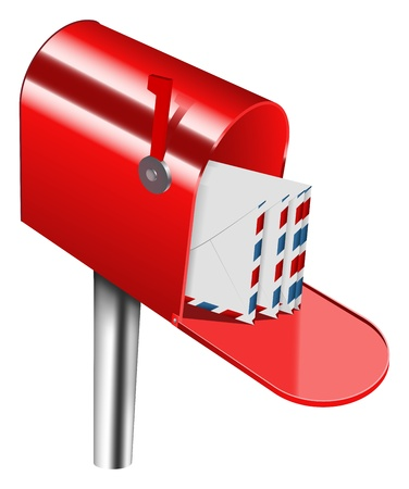 metal mailbox: vector red mailbox on white background, gradient mesh used Illustration