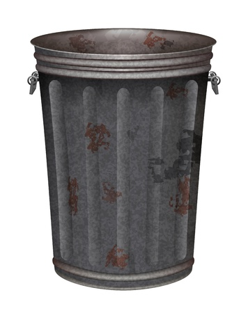 garbage can: grunge garbage can on white background