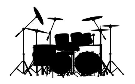 drum set: drum kit silhouette on white background Illustration