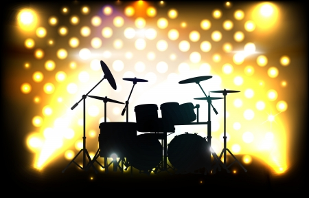 stage performance: drum kit on stage before concert Illustration
