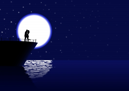 romantic couple silhouette on the cruiser in the night