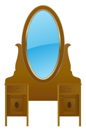 drawers: vector vintage nightstand with mirror Illustration