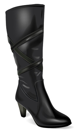 Vector Black Leather Boot on White , Gradient Mesh and Transparency Used