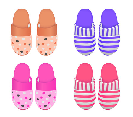 home accessories: Vector set of four slippers, gradient mesh used