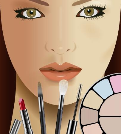 lipstick brush: Vector Beautiful Woman and Makeup Kit Illustration