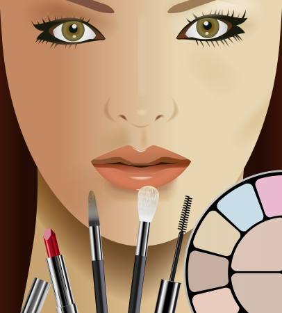 make up brush: Vettore Bella Donna e trucco Kit
