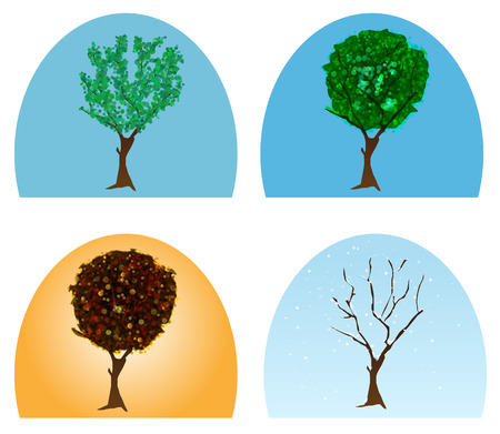 vector abstract tree during four seasons Stock Vector - 23298385