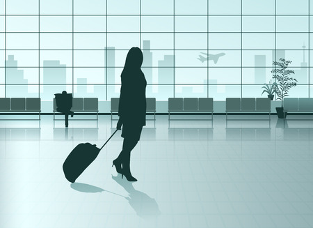 airport people: Vector Girl With The Suitcase in Airport Hall
