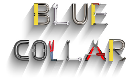 blue collar: Vector Text Made of Various Tools, Eps 10 Vector, Gradient Mesh and Transparency Used Illustration