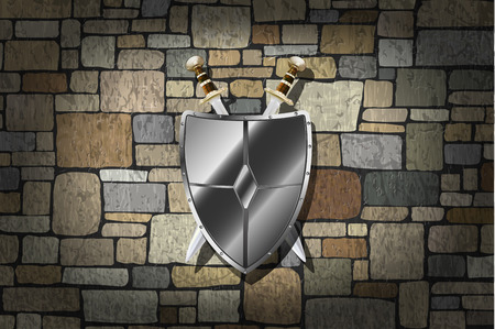 Vector Swords and Shield On Grunge Stone Wall  Vector
